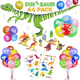 44 PACK Dinosaur Birthday Party Decorations for Kids - 3D Happy Birthday Banner, Colorful Balloons, Mini Dino Models, Cartoon Tattoos | Aster Birthday Supplies Set for 1st 2nd 3rd 4-12 year boys