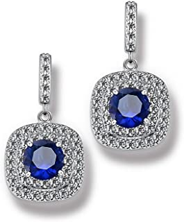 CZ Dangle Drop Earrings 5ct Cubic Zirconia simulated diamond cushion cut double halo gift bridal