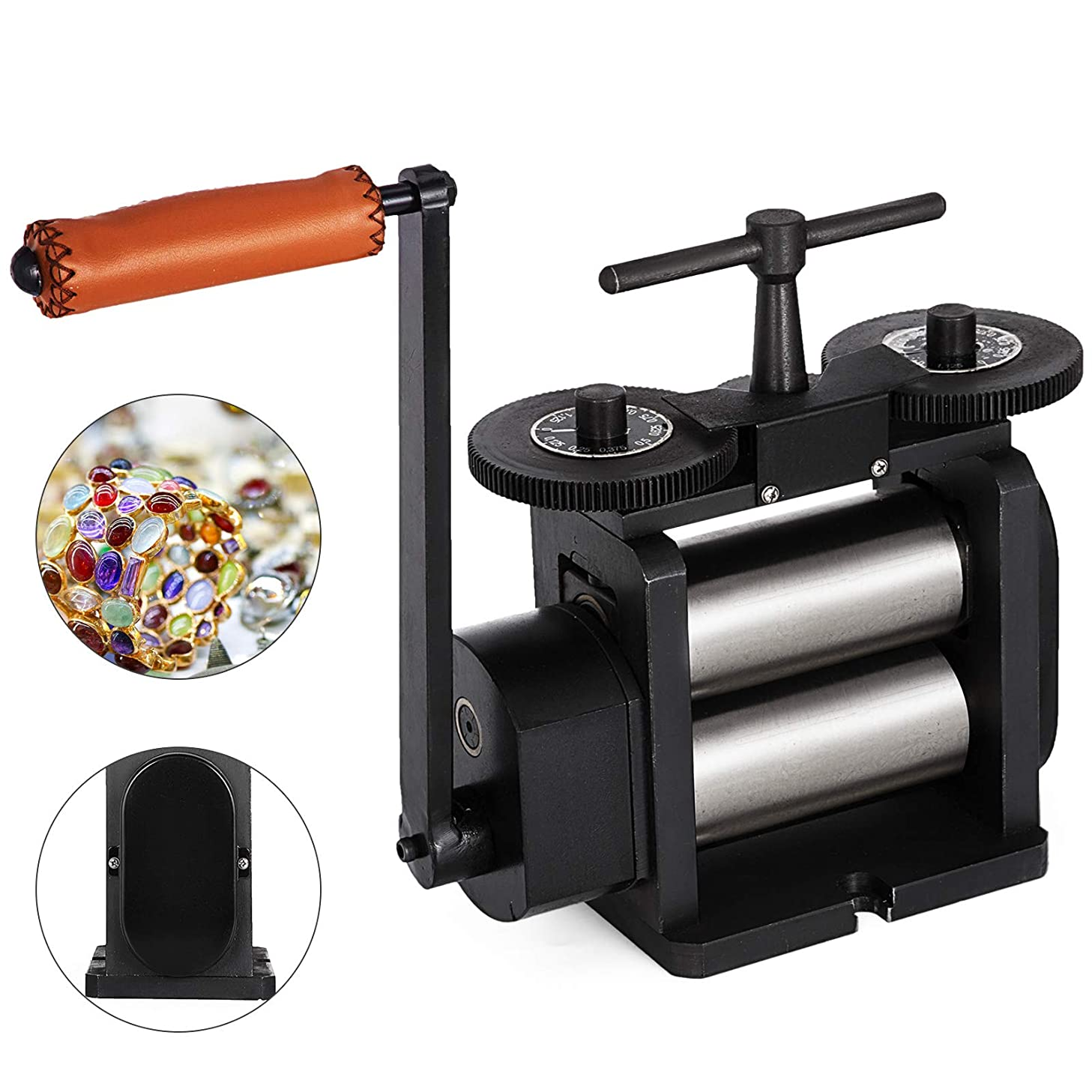 Mophorn Jewelry Rolling Mill Flat Rolling Mill 110mm Wide 55mm Diameter Rollers Manual Rolling Mill Machine Jewelry Marking Tools Designed for Jewelers and Crafts-People