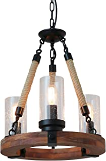 Giluta Wooden Ring Hemp Rope Chandelier Retro Farmhouse Style Pendant Lighting Vintage Round Ceiling Light Fixtures 3 Lights with Seeded Glass Shade, Brown (C0047)