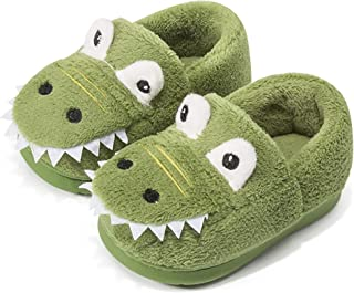 RONGBLUE Boys Girls Cute Dinosaur House Slippers Toddler Kids Fur Lined Warm Winter Indoor Bedroom Shoes