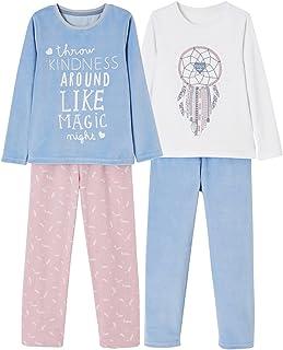 9a299f56f41b6 Vertbaudet Lot de 2 Pyjamas bi-matière Fille combinables