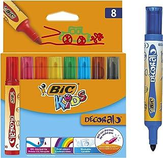 BIC Kids Decoralo Feutres de Coloriage à Pointe Extra Large - Couleurs Assorties, Etui Carton de 8