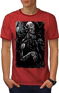 Monster Scary Bat Mens Ringer T-Shirt, Horror Graphic Print Tee