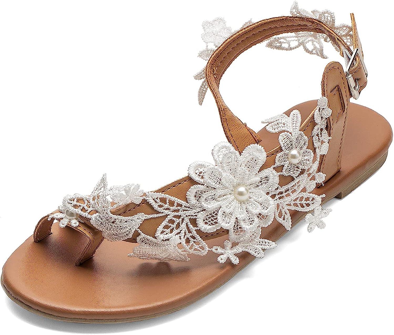 Women's Sandals Flat Alternative dealer Clip Toe Casual Beach Floral trend rank Lace Flop Flip
