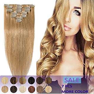 Human Hair Clip in Extensions Remy 15 18 20 22 Inch 7pcs Clips on Remi Hair Extensions Strong Machine Weft 65g-75g Silky Straight for Women Fashion Beauty(18