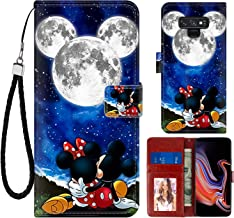 DISNEY COLLECTION Wallet Case for Samsung Note 9 Mickey and Minnie are Dating Pattern Design Magnetic Closure [Stand Feature] Folio Flip Cover with Card Holder and Wrist Strap Protective Cover