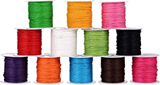 Shappy 12 Rolls 1 mm Waxed Cord, Imitation Leather Waxed Thread Braided Strings for Craft Making, DIY, Beading, 12 Colors, 10 Meters Each