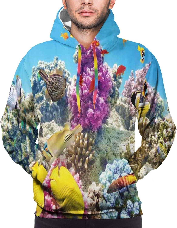 TENJONE Men's Hoodies Sweatshirts,Inspiring Quote Watercolor Flower Pattern and Celebration Background