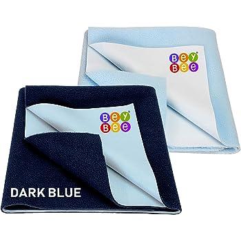 Beybee Waterproof Bed Protector Dry Sheet Large, Pack of 2, Dark Blue/Blue
