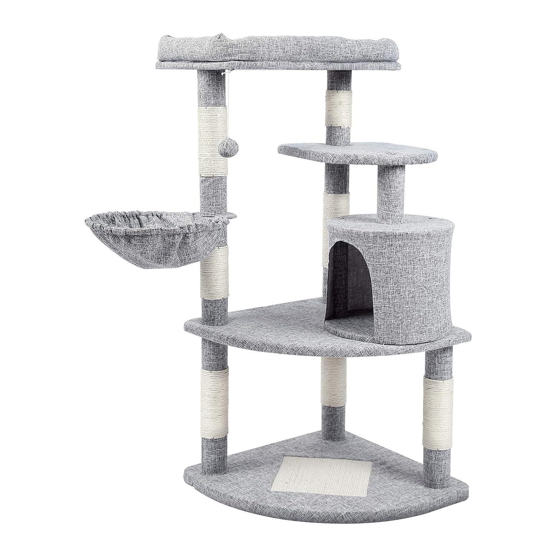 Koi キャットタワー ねこタワー 角に置くタイプ 布生地 毛つけにくい 掃除しやすい 場所取らず 高さ110cm