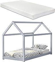 [en.casa] Barnsäng med madrass 90 x 200 cm ljusgrått trä hus design furu säng träsäng hussäng kallskummadrass Öko-Tex stan...