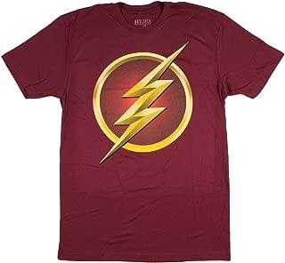 DC Comics T Shirt The Flash TV Series Men's Tee Justice League Speedster Large Burgandy
