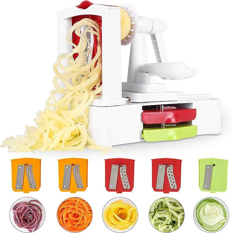 Spiralizer Vegetable Slicer MVPower 5 Blade Spiralizer Heaviest Strongest Duty Perfect Veggie Pasta And Spaghetti Maker