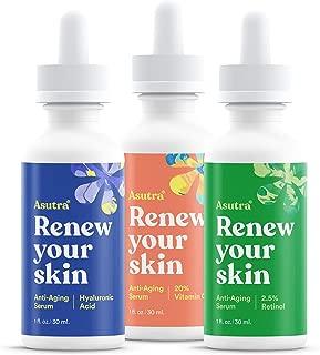 ASUTRA Anti-Aging Serum Set, 1 fl oz each (3pk)   Includes 20% Vitamin C + 2.5% Retinol + Hyaluronic Acid Serums   Brighten, Hydrate, Soften, Restore Skin