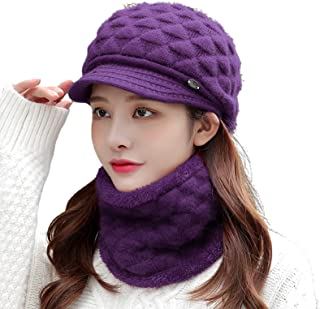 Outfly Mens and Womens Scarf Hat Sets in Autumn and Winter Thickened Polar Fleece Hat with Scarf