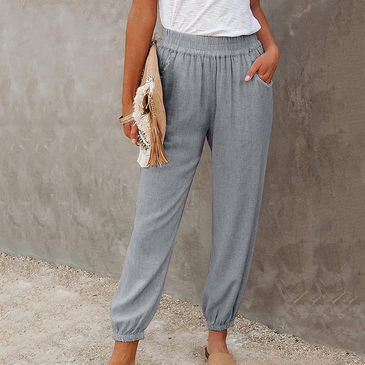 Women's Lounge Pants Casual Pencil Loose High Waist Solid Color with Pockets for Work Daily Wear Shopping