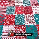 Fabric Penguin 15x Weihnachtliche Stoffreste, 10cm x