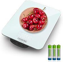 ADORIC Balance Cuisine Electronique Max 15kg Balance Cuisine Numérique de Haute Précision 1g, avec Plateforme en Verre Tre...