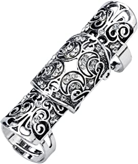 Jewelry Women's Crystal Double Full Finger Armor Knuckle Ring Adjustable