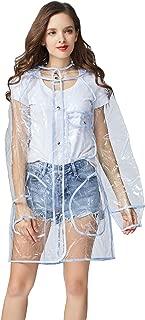 Freesmily Transparent Raincoat for Women Fashion EVA Waterproof Rain Poncho with Hood