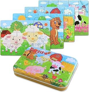 BBLIKE Jouet Puzzle en Bois pour Enfants, 4 Niveaux de Difficulté Différents, 9 Pièces, 12 Pièces, 15 Pièces, 20 Pièces, J...