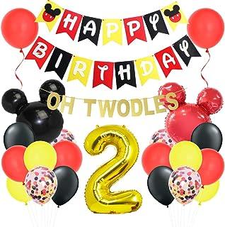 Kit de decoraciones de segundo cumpleaños de Mickey Oh Twodles con globos de cabeza de Mickey Minnie Banner Garland para suministros de la segunda fiesta de cumpleaños