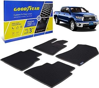 Goodyear Custom Fit Car Floor Liners for Toyota Tundra 2010-2013 CrewMax, Black/Black 4 Pc. Set, All-Weather Diamond Shape...