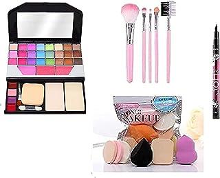 TYA Makeup Kit + 5 Pcs Makeup Brush + 6 Piece Makeup Sponges + Eyeliner Black