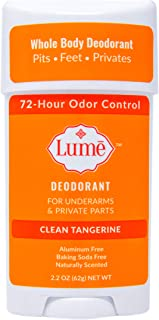 Lume Natural Deodorant - Underarms and Private Parts - Aluminum-Free, Baking Soda-Free, Hypoallergenic, and Safe For Sensitive Skin - 2.2 Ounce Stick (Clean Tangerine)