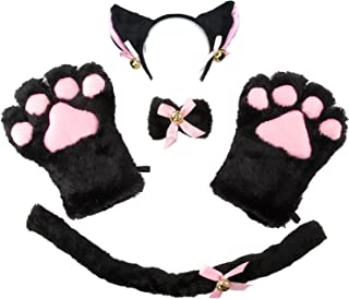 Cat Costume Cosplay Kitten Tail Ear Hairclip Collar Paws Gloves Anime Lolita Gothic Set