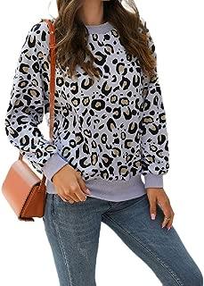 Howely Women's Casual Crew-Neck Fashion Leopard Print Sweatshirts Top Blouse