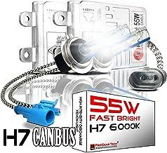 H7 55W Heavy Duty Fast Bright CANBUS HID Bulbs bundle with AC Slim Ballasts No OBC Error (6000K)