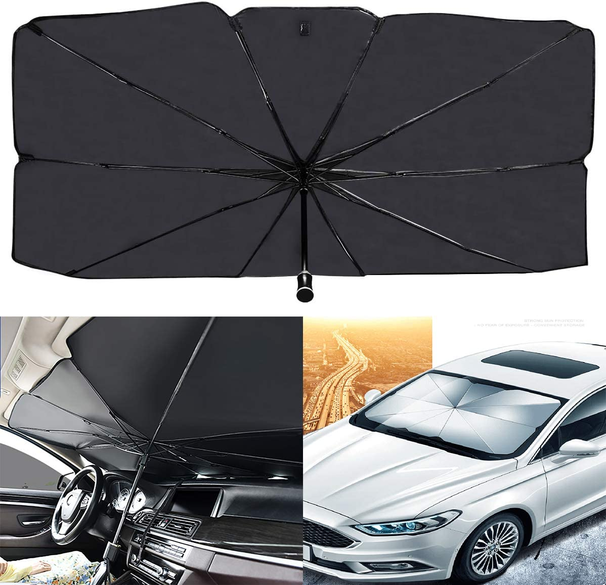 AIKESI Car Umbrella Sun Shade Cover for Windshield UV Reflecting Foldable Front Car Sunshade Umbrella, Easy to Use/Store, 57'' x 31'', Fit Most Vehicle: Automotive