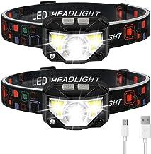 Headlamp Flashlight, LHKNL 1100 Lumen Ultra-Light Bright LED Rechargeable Headlight with White Red Light, 2-PACK Waterproo...