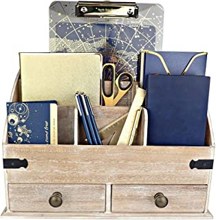 $39 » 25DOL Mini-Hutch Large Wooden Desk Organizer with Drawers. Rustic Office Decor, Desk Accessories and Office Supplies. 6 Compartment Mail Organizer, File Organizer for Folders, Pen Holder and Drawers