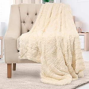 Everlasting Comfort Luxury Faux Fur Throw Blanket - Soft, Fluffy, Warm, Cozy, Plush (Ivory)
