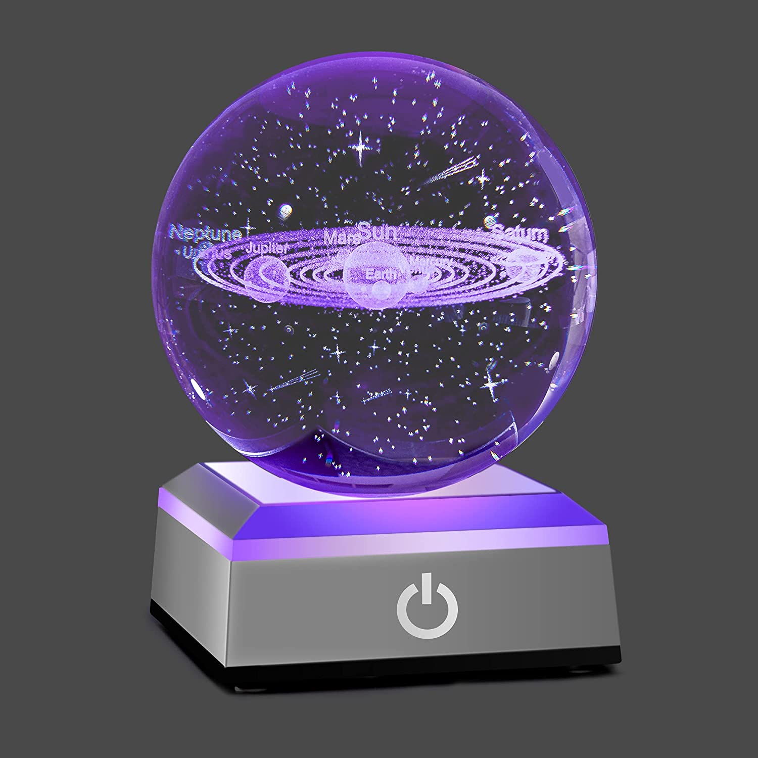 HOCHANCE 3D Solar System Crystal Ball with LED Colorful Lighting Touch Base,God Bless The World,Easter Religious Gifts for Girlfriend Woman Her Aunt Wife Mom Eldership