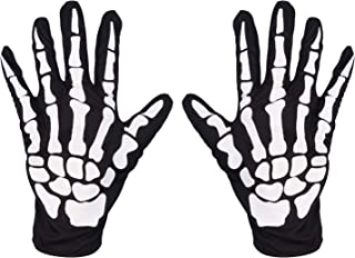 LEADTEAM Skeleton Gloves Cosplay Mummy Ghost Reaper Halloween Costume Cosplay Accessories Full Finger Unisex