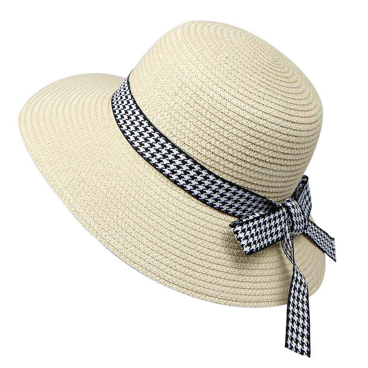童謡定期的に南麦わら帽子 レディース 夏 ハット UVカット 帽子 日焼け防止 ストリーマ 千鳥格子 蝶結び 帽子 レディース 紫外線100%カット UV ハット 可愛い 小顔効果抜群 日よけ 折りたたみ つば広 ROSE ROMAN