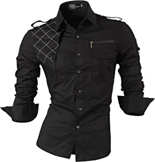 Men's Slim Fit Long Sleeves Casual Button Down Dress Shirts 8397