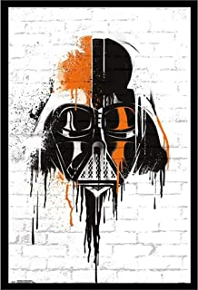 Darth Vader Mask Star Wars Art Decor Framed Print   24x36 Premium (Canvas/Painting Like) Textured Poster   Starwars The Dark Side Figure Quality Comic Artwork   Jedi Movie Trilogy Merchandise Photo