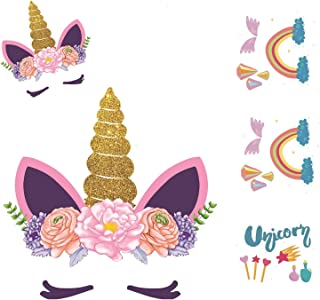 Unicorn Patch Iron On Heat Transfer Cartoon Birthday Heat Transfer Paper for Baby Children Clothes Romper Hangbag Pillow T Shirt Jersey5pcs (Glitter 2)