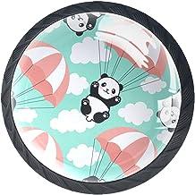Lade Knoppen Ronde Kast Handvatten Pull voor Home Office Keuken Dressoir Garderobe Decorate,Panda Achtergrond Gelukkig