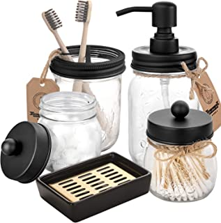 Mason Jar Bathroom Accessories Set 5 Pcs - Mason Jar Soap Dispenser & 2 Apothecary Jars & Toothbrush Holder &Ceramic Drain Soap Dish - Rustic Farmhouse Decor Bathroom Countertop Vanity Organize, Black