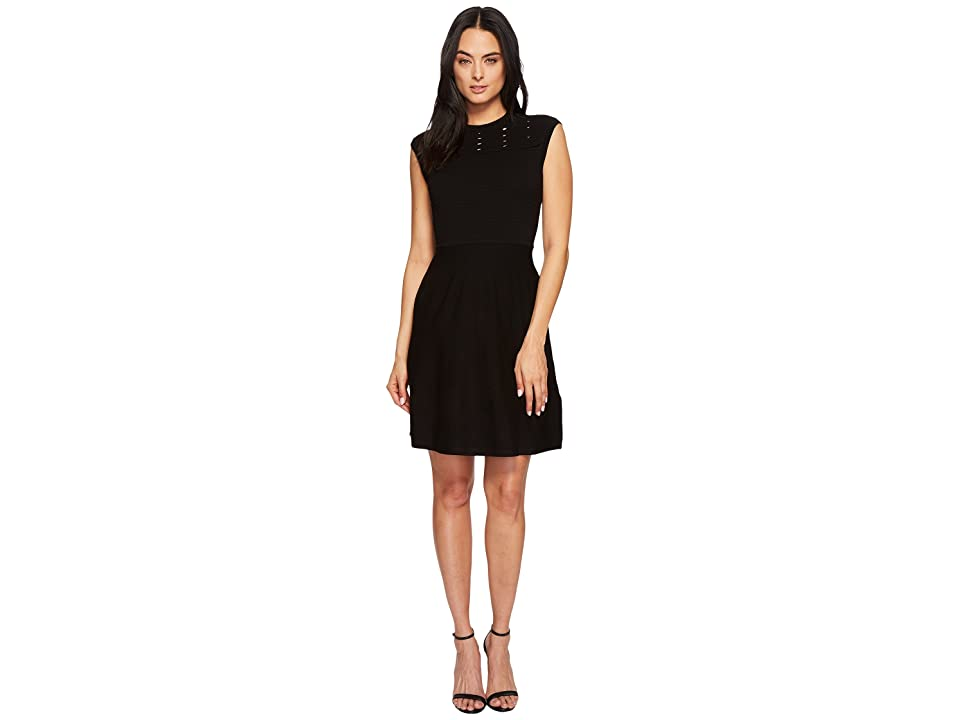 CeCe Cap Sleeve Multi Stitch Sweater Dress (Rich Black) Women