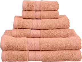 6-Piece Towel Set, Soft Rayon from Bamboo, Quick Dry, Salmon