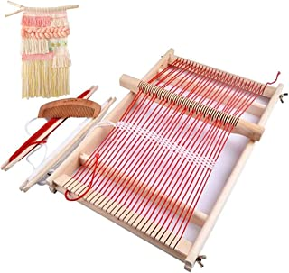 Mikimiqi Wooden Multi-Craft Weaving Loom Large Frame 9.85x 15.75x 1.3inches to Handcraft for Kids