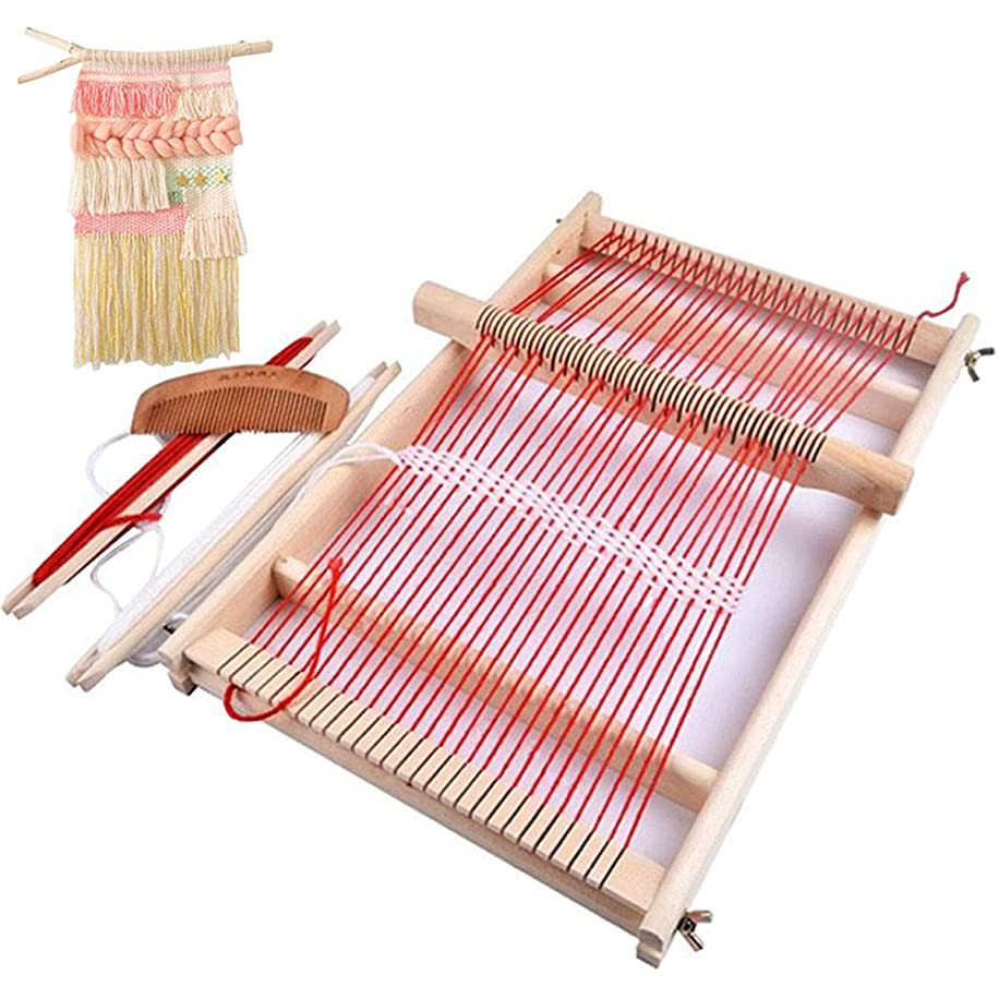 Mikimiqi Wooden Multi-Craft Weaving Loom Large Frame 9.85x 15.75x 1.3 Inches To Handcraft For Kids