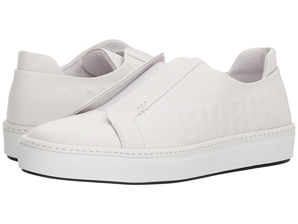 Giorgio Armani Boston Leather Sneaker (White) Mens Shoes